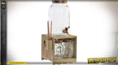 Distributeur de boisson de style rétro avec support mini-bar pour 4 verre
