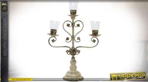 Chandelier ancien en métal crème effet oxydé avec trois branches 74 cm