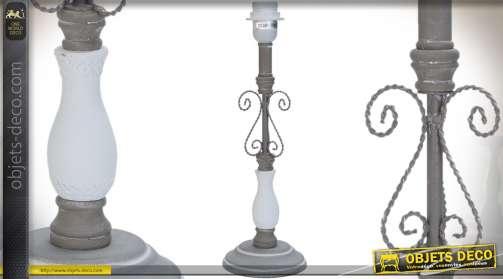 Pied de lampe rétro en bois laqué blanc et métal vieilli avec douille E27