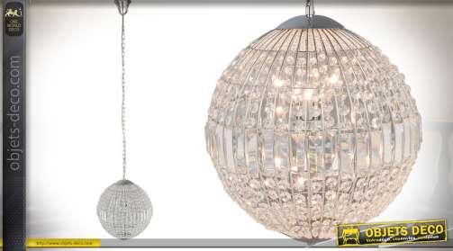 Lustre sphère de style ancien avec habillage en pampilles de verre facettées Ø 40 cm
