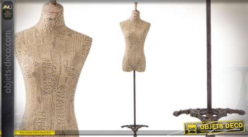 Buste mannequin de couture à vocation décorative, en bois, lin et fer forgé
