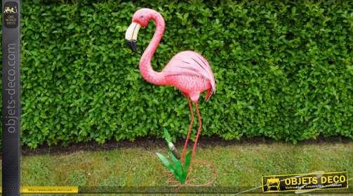 Flamant-rose de décoration en métal pour intérieur ou extérieur