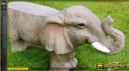 Tabouret banc en résine haute densité, finition bronze vieilli, en forme de statuette d'éléphant