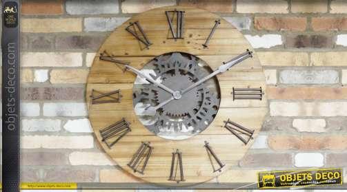Grande horloge de style indus en bois et métal avec engrenages en métal gris anthracite