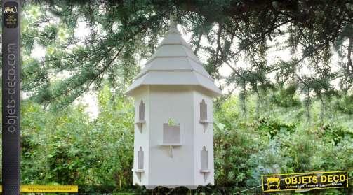 Grand hôtel pour oiseaux en bois en forme de tour à toit pyramidal, à poser ou à suspendre