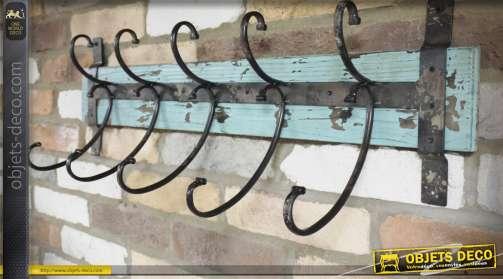 Porte-manteaux en bois vieilli patine bleu clair et métal noir antique avec 5 doubles patères