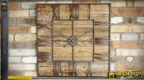 Horloge industrielle en bois vieilli et métal avec cadran carré 70 x 70 cm