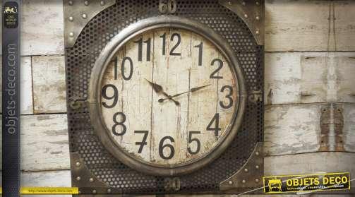 Grande horloge murale en métal patine bronze vieilli style industriel 70 x 70 cm