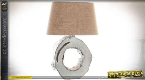 Lampe de salon imitation bois vieilli blanchi avec abat-jour tissu coloris lin écru