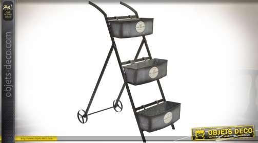 Chariot jardinière à trois niveaux de style industriel et rétro en métal vieilli