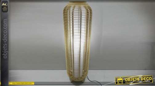 Lampadaire à poser en bambou effet cage cylindrique aérée et lumière centrale diffuse