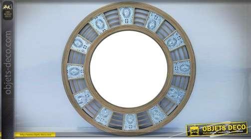 Miroir circulaire en bambour et métal style exotique
