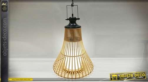 Suspension style scandinave en bambou naturel et métal noir