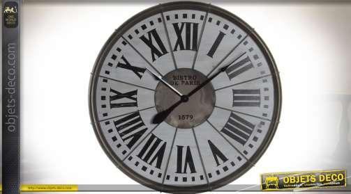 Grande horloge murale rétro en bois et métal : thème les Bistros de Paris