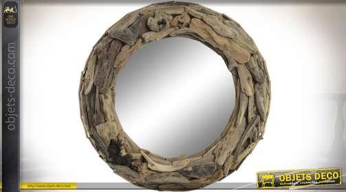 Miroir circulaire avec encadrement en bois flotté coloris marron