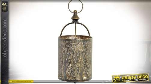 Grand bougeoir cylindrique à suspendre en forme de lanterne ronde habillage branchages intriqués finition dorée et cuivrée