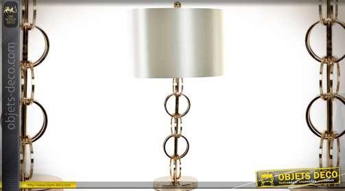 Lampe de salon design en métal doré chromé et abat-jour blanc nacré satiné