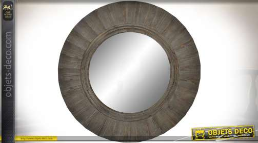 MIroir circulaire en bois massif vieilli effet miroir de brocante