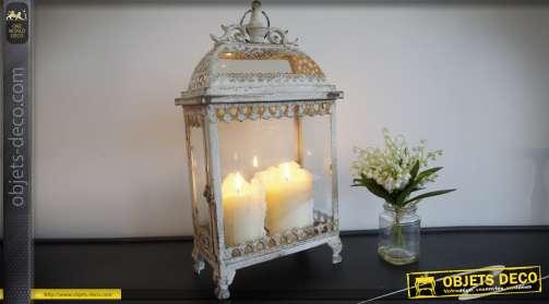 Lanterne de style romantique et rétro en métal et verre, de forme rectangulaire, patine gris clair à l'ancienne