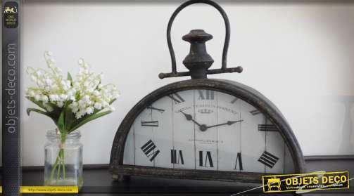 Horloge rétro en métal en forme de demi-lune à poser