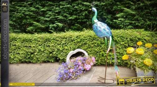 Grand paon décoratif en métal pour intérieur ou extérieur, plumage multicolore effet irisé