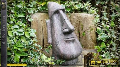 Tête de sculpture de l'île e Pâques en pierre grise reconstituée pour déco extérieur ou intérieur