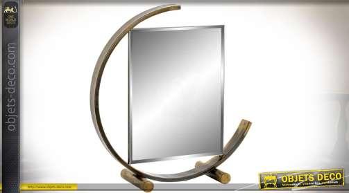 Miroir de table original de style industriel et rétro avec support circulaire, finition bronze ancien