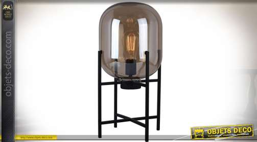 Grande lampe sur support en métal en verre fumé et ampoule de type Edison à filaments