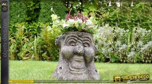 Jardinière décorative en résine effet tronc d'abre personnage de conte d'autrefois