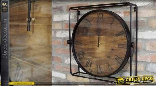 Horloge bois et métal de style industriel finition vieillie et noir