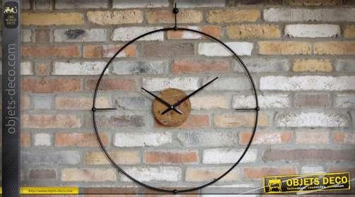 Horloge murale noir en métal de style design vintage de forme circulaire