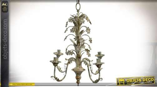 Grande suspension en métal fleurie avec quatre bras d'éclairage, patine beige très vieillie