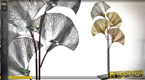 Grande décoration sur pied, feuilles de palmier stylisées dorées avec porte-bougies