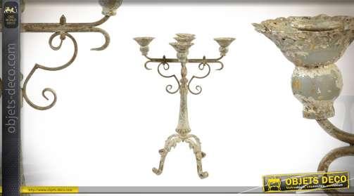 Chandelier à 4 bras en métal style ancien authentique reflets dorés