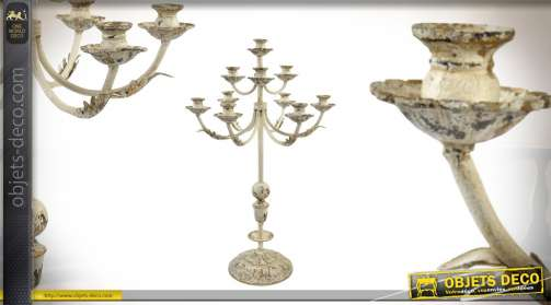 Grand chandelier en métal effet ancien 88cm