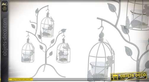 Support bougies en métal pour 3 bougies avec feuilles en métal et petites cages