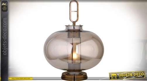Lampe vintage en métal cuivré et verre fumée style design rétro