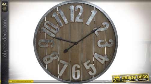 Très grande horloge en bois et métal esprit rustique et atelier d'autrefois