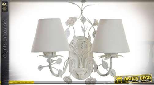 Applique double en métal et tissu, à motifs de feuillages et roses blanches, patine blanche