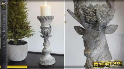 Chandelier gris à motifs de tête de cerf, décoration de Noël 30 cm