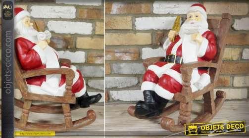 Grande statuette de Père-Noël : Papa Noël dans son fauteuil à bascule