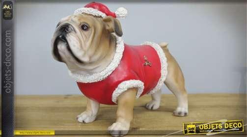 Chien bouledogue habillé en Père-Noël : décoration de Noël bouledogue anglais