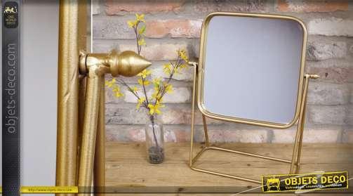 Miroir de coiffeuse en métal doré, grand format, sur socle en métal