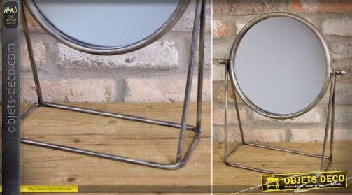 Miroir à poser en métal, de style rétro finition argentée vieillie