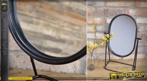 Miroir à poser ovale en métal, de style rétro finition noire vieillie