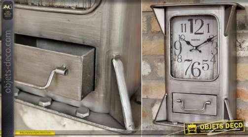 Horloge murale ancienne en métal de style industriel patine gris argenté