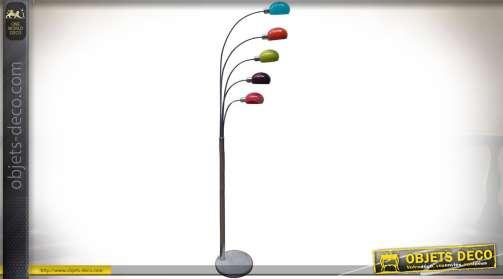 Lampadaire original esprit Art Déco avec 5 réflecteurs multicolores