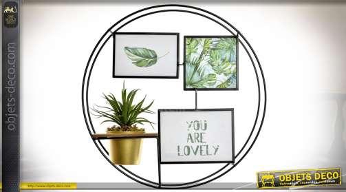 Mini étagère murale porte-photos en bois et métal, forme circulaire Ø 43 cm