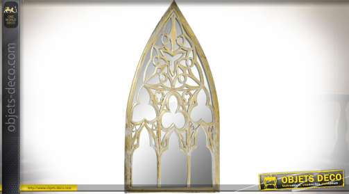 Miroir en forme de fenêtre gothique, en bois (MDF) avec patine blanche et dorée effet vieilli