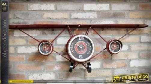 Horloge originale avec étagère, en forme d'avion ancien, en métal.